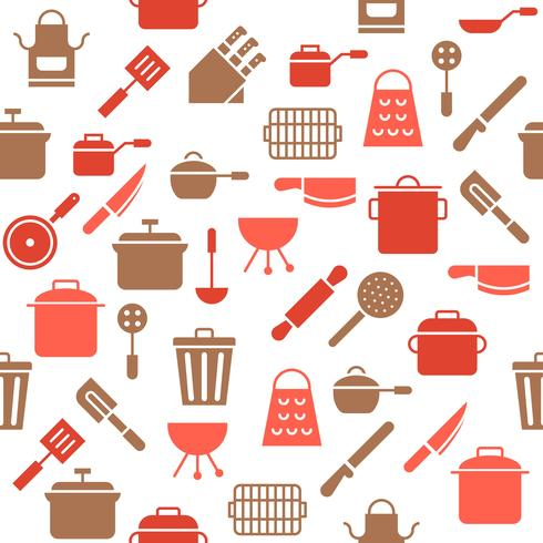 Keukengerei naadloos patroon voor behang of inpakpapier vector