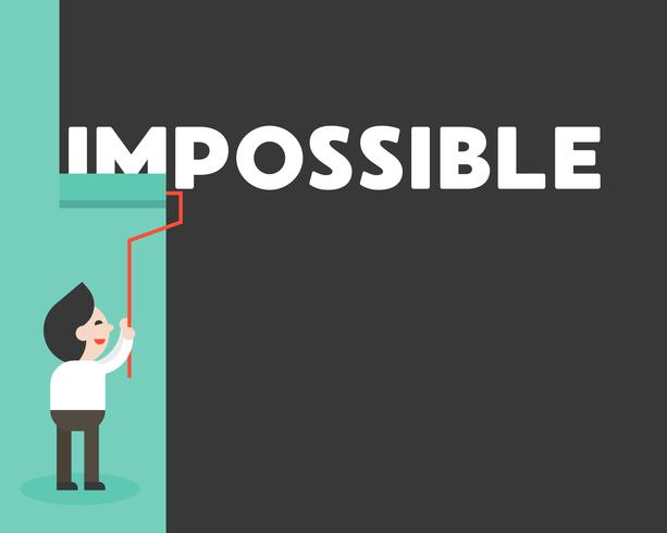 Zakenman het schilderen muur om onmogelijk woord, motivatieconcept te wissen vector