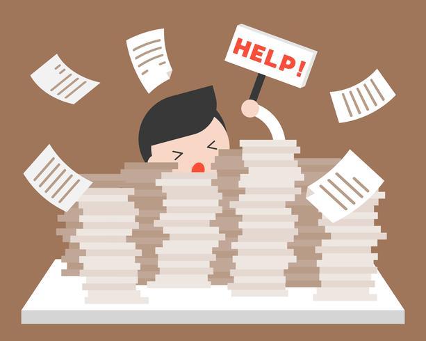 Zakenman in stapel van documenten die om hulp, over werkbelasting vragen vector