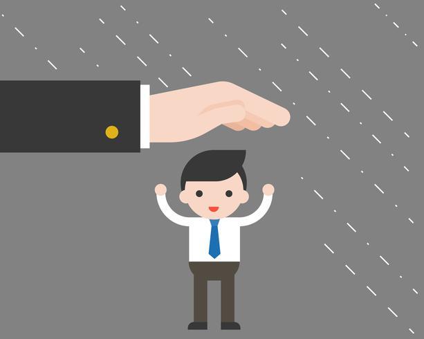 De verdediger grote hand beschermt uiterst kleine Zakenman tegen het regenen, bedrijfssituatieconcept vector