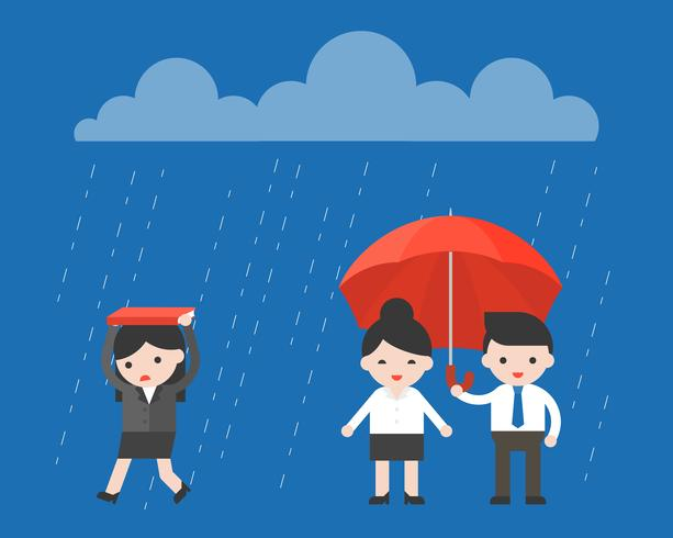 Enige Onderneemster die onder de regen loopt vector