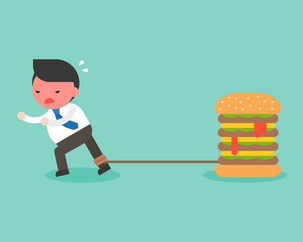 Dikke zakenman geketend met gigantische hamburger vector