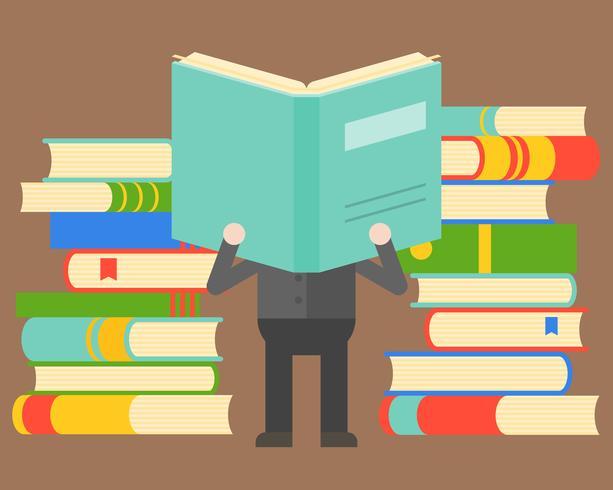 Het boek van de mensenlezing voor stapel van boeken, wijsheidsconcept en de boekdag van de wereld vector