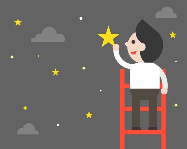 De zakenman op ladder plukt sterren, vlak ontwerp vector