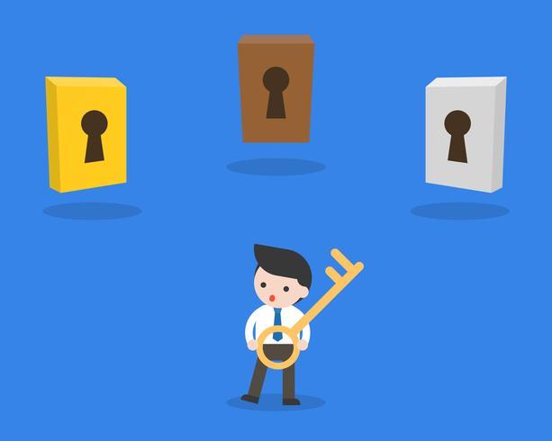 Zakenman houdt een sleutel met verschillende drie sleutelgat, besluit concept vector
