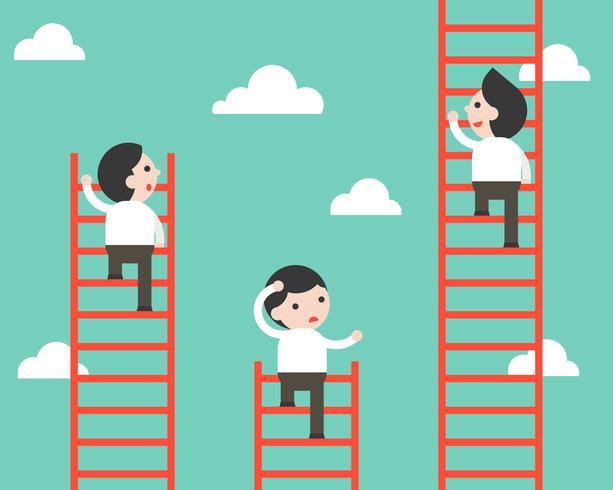 Zakenman die op laddervector beklimmen, concurrentiesituatie vector