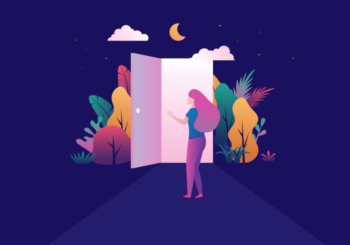 Meisje Opening Door vector