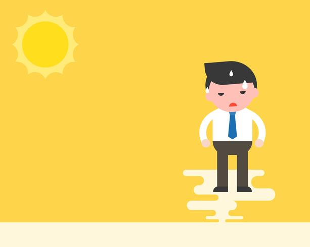 Zakenman staan met zweet onder de zon, warm weer en hoge temperatuur vector