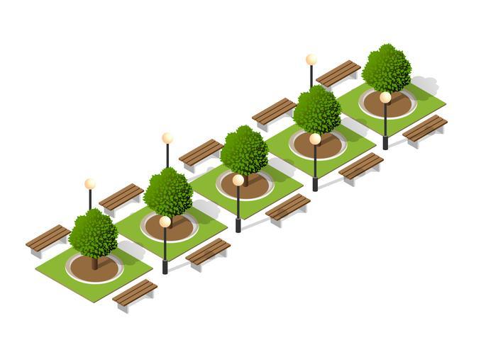 Bomen van een bank in het park vector