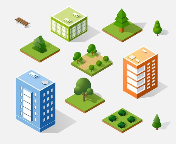 Isometrische 3D-bomen vector