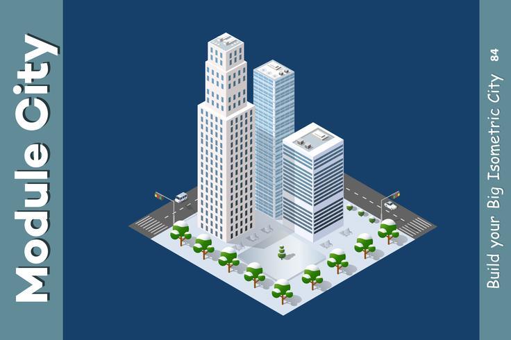 Isometrisch van de moderne stad vector