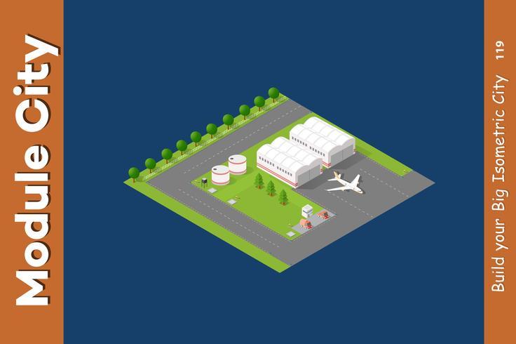 Isometrische stad 3D-luchthaven vector