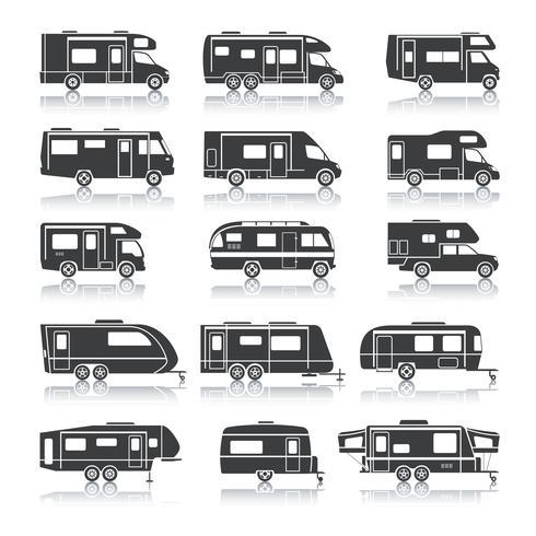 Recreatieve voertuig zwarte pictogrammen vector