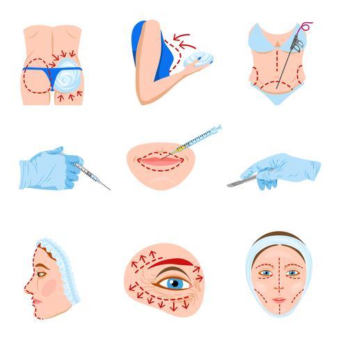Plastische chirurgie plat pictogrammen instellen vector
