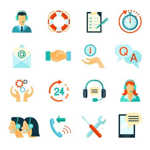 Vlakke stijl kleur iconen van klantenondersteuning vector