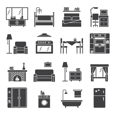 Interieur en meubilair Icons Set vector