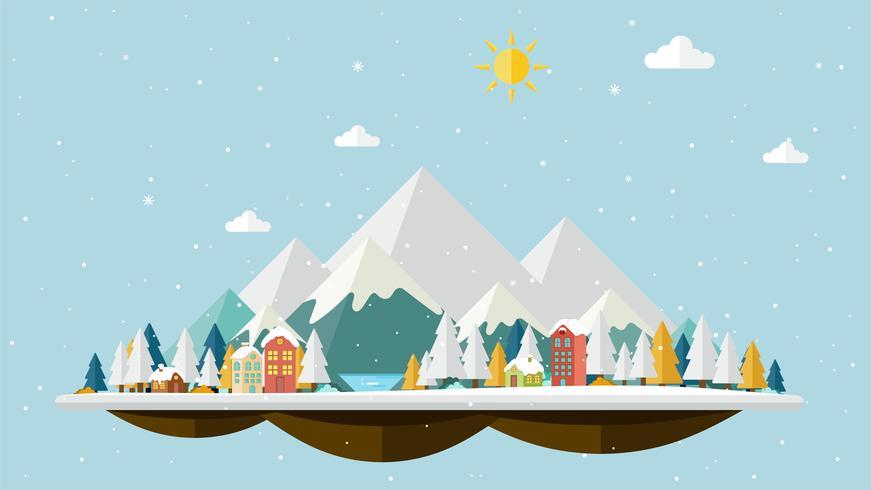 Platte ontwerp van winterlandschap achtergrond vector