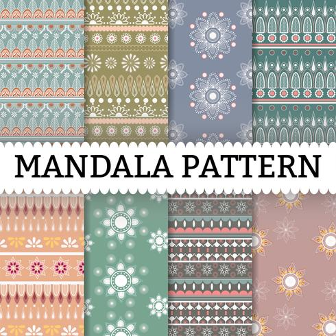 Mandala patroon achtergrond instellen vector