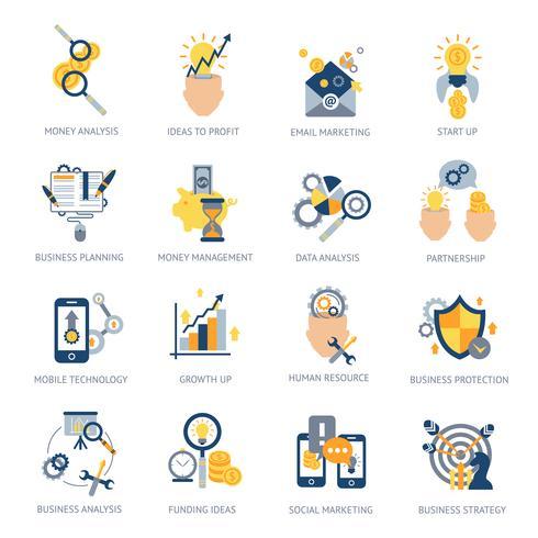 Zakelijke analyse Icons Set vector