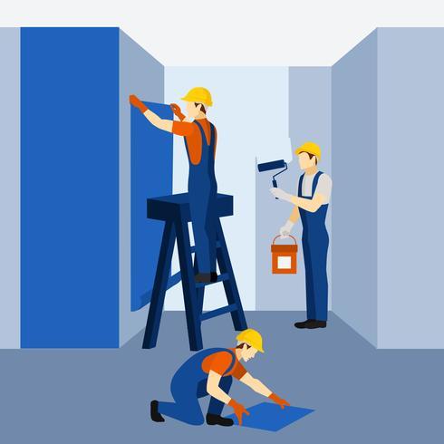 Appartement gebouw renovatie werk pictogram poster vector