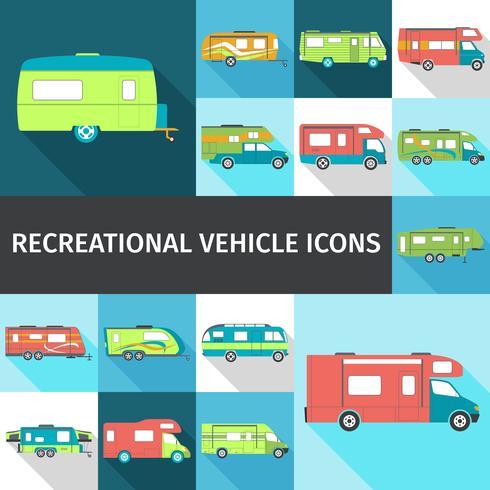 Recreatief voertuig vlakke pictogrammen vector