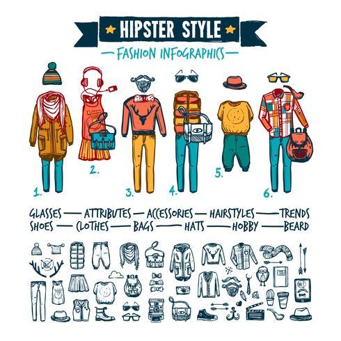 Hipster mode kleding infographic doodle banner vector