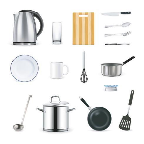 Realistische iconen van keukengerei vector