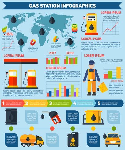 Poster van de benzinestation de wereldwijde infographic lay-out vector