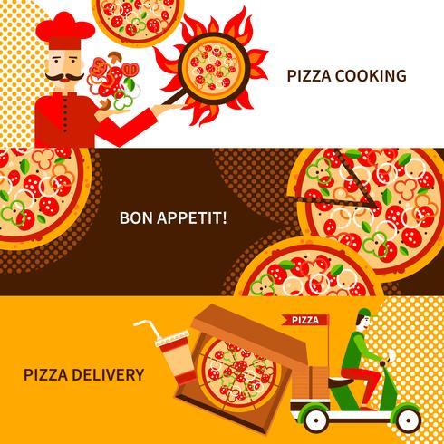 Pizza levering vlakke horizontale banners instellen vector