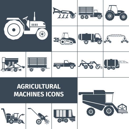 Landbouwmachines Zwart Wit Icons Set vector