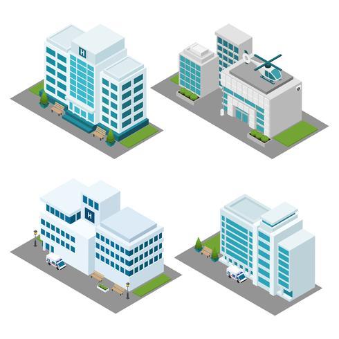 Ziekenhuis isometrische pictogrammen instellen vector