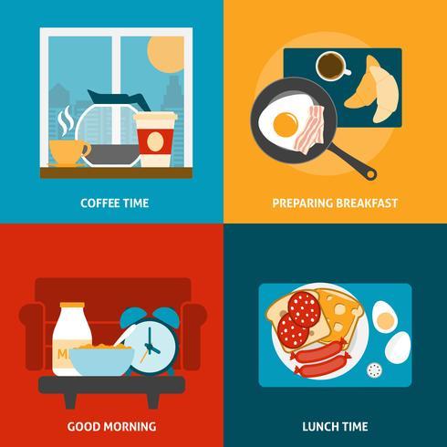 Ontbijt en lunch pictogrammen instellen vector