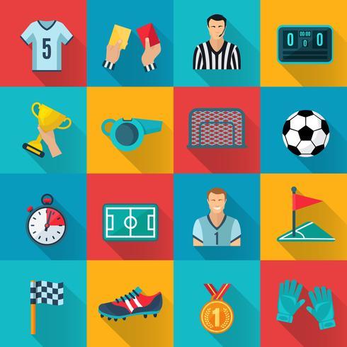 Voetbal plat pictogrammen instellen vector