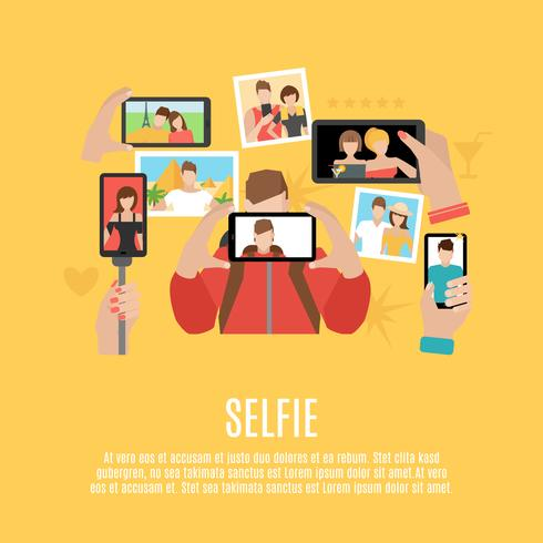 Selfie foto's plat pictogrammen samenstelling poster vector