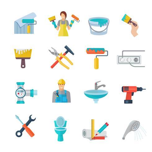 Home reparatie pictogrammen platte set vector