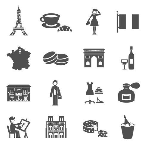 Frankrijk pictogrammen zwart vector