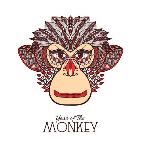 aap kleur gezicht vector