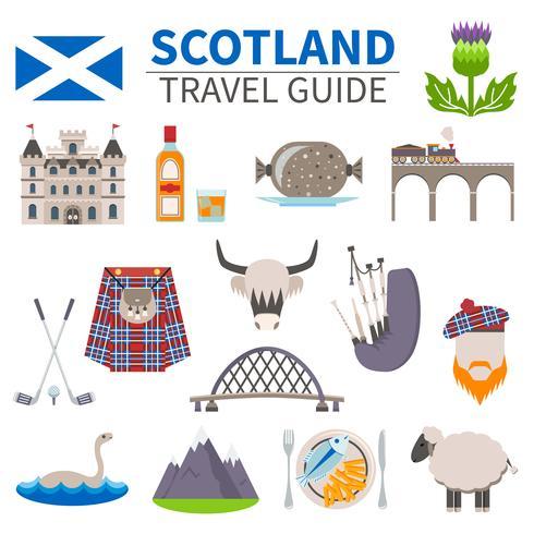 Schotland reizen Icons Set vector