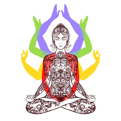 Yoga mediteren in lotus asana pictogram vector