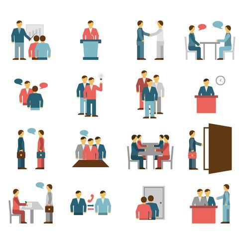 Vergadering mensen egale kleur pictogrammen vector