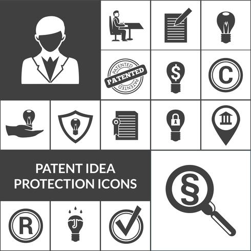 Patent idee bescherming pictogrammen zwart vector