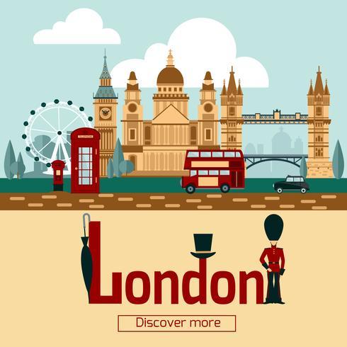Londen toeristische poster vector