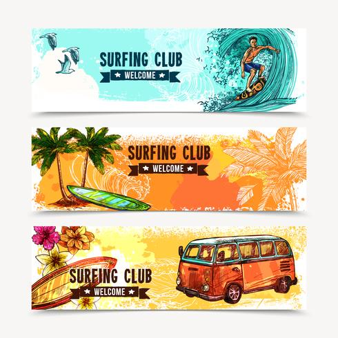 Surfbannerset vector