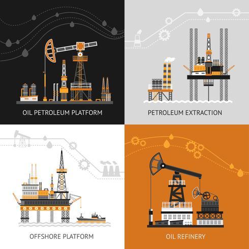olie aardolie platform ingesteld vector