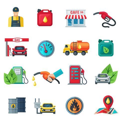 Tankstation gekleurde pictogrammen instellen vector