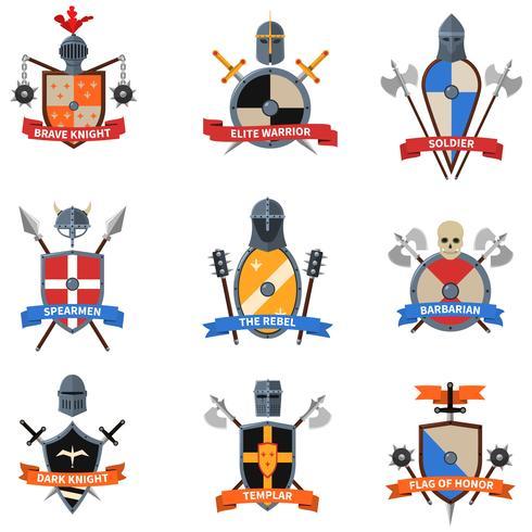 Middeleeuwse ridders emblemen vlakke pictogrammen instellen vector