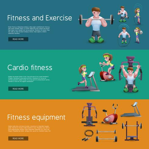 Set van drie fitness-banners vector
