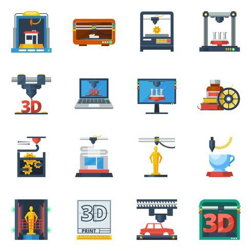 3D-afdrukken plat pictogrammen collectie vector
