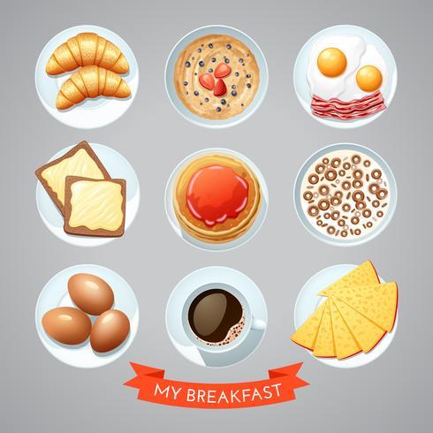 Poster met ontbijt Set vector