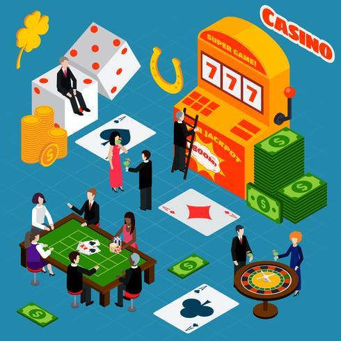 Casino interieur geluk symbolen isometrische banner vector